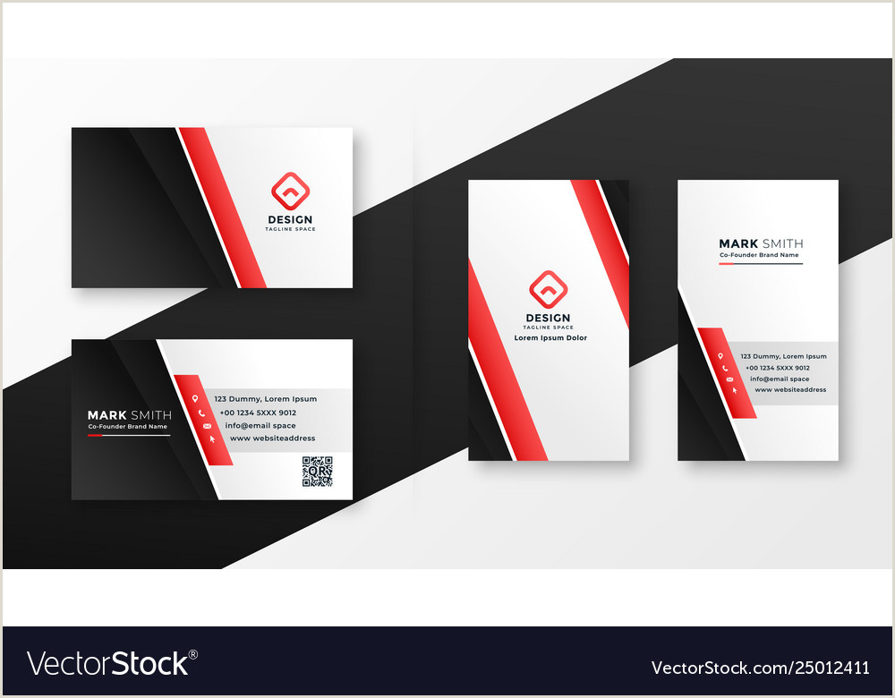 Call Card Template Professional Red Business Card Design Vector Image