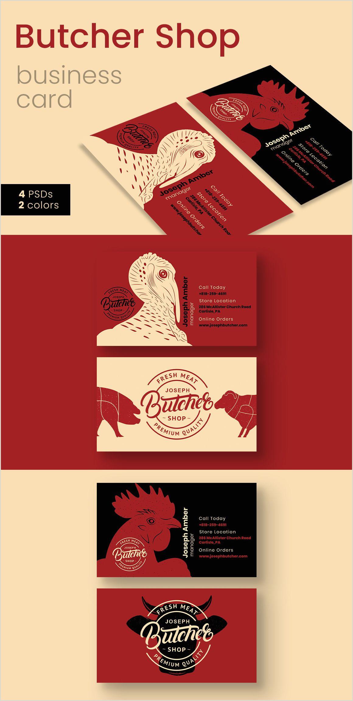Call Cards Design Butcher Shop Business Card