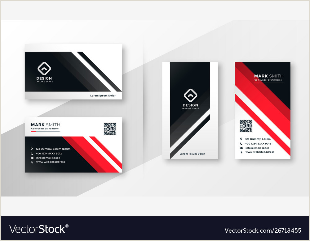 Call Cards Design Geometric Business Card Design In Red Theme Vector Image