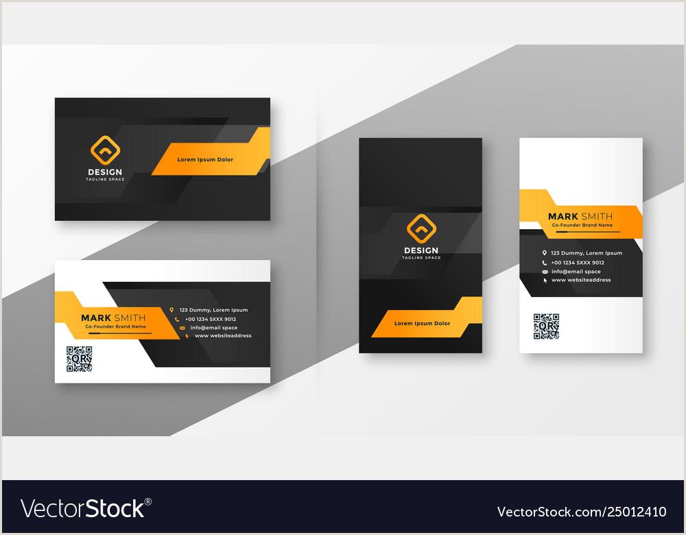Calling Card Designs Geometric Orange Business Card Template Vector Image