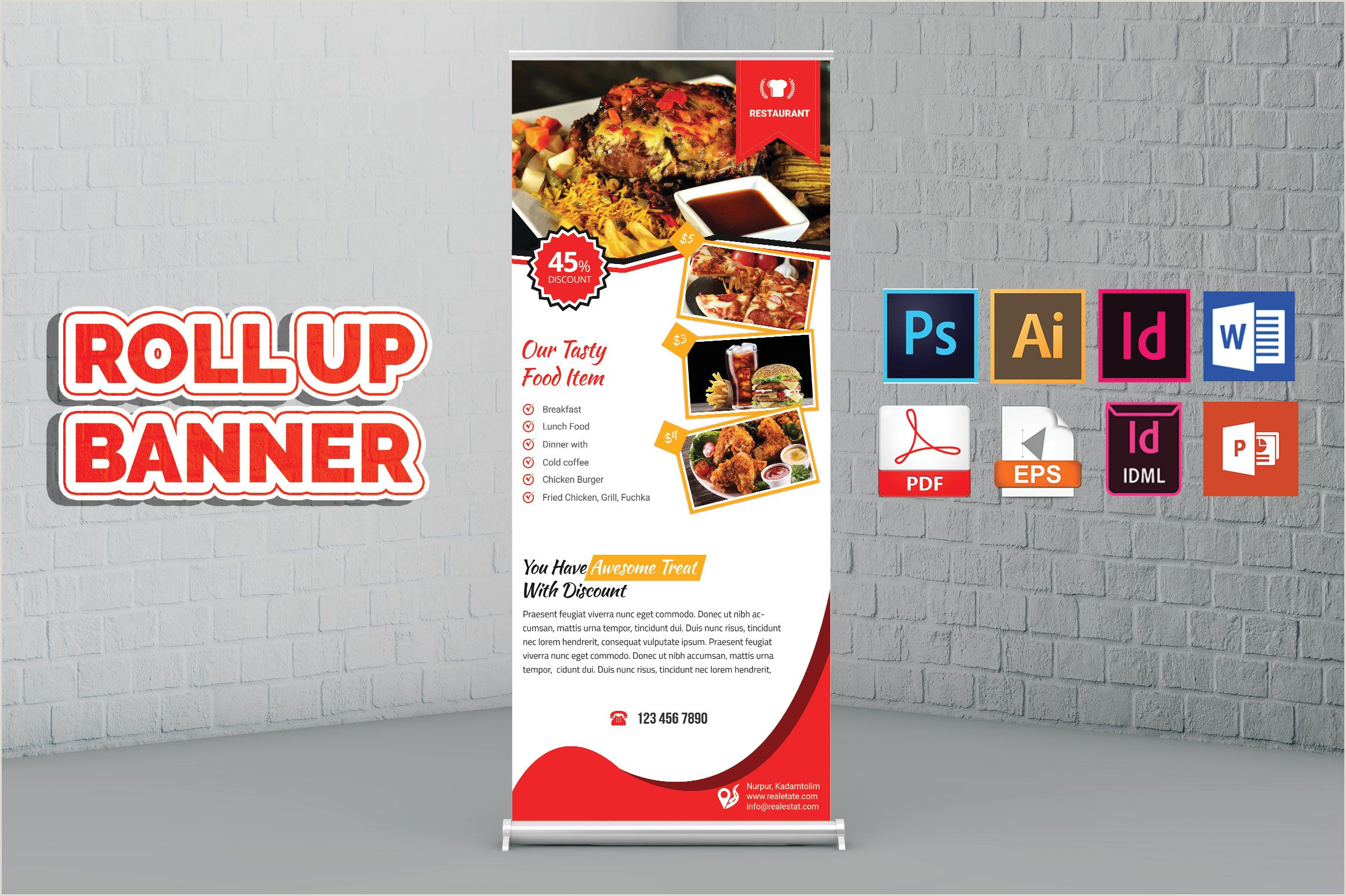 Cheap Retractable Banner Restaurant Rollup Banner Vol 03 Graphic Templates Search