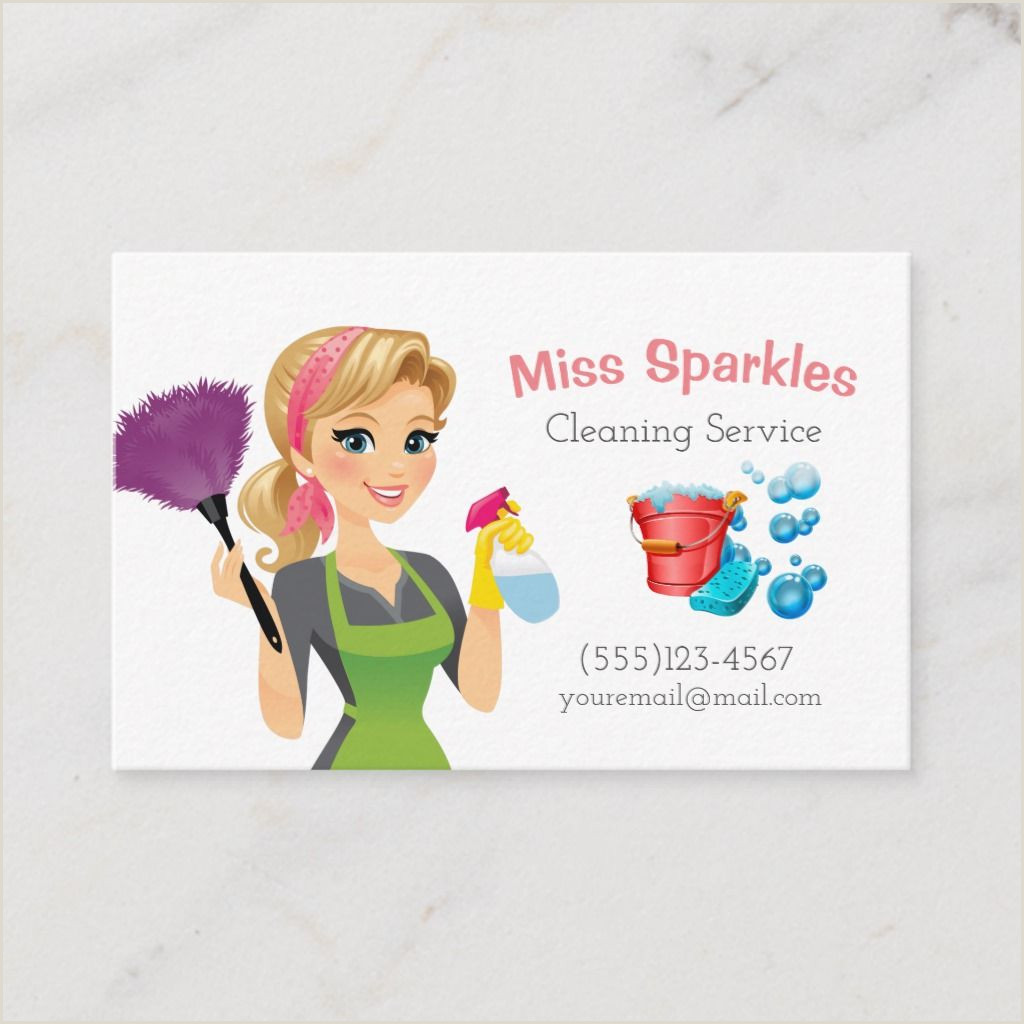 Cleaning Services Business Cards Examples Cute Cartoon Maid House Cleaning Services Business Card