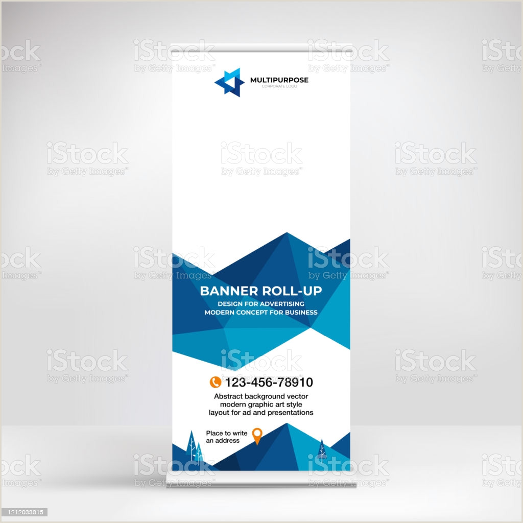 Conference Banner Stands Banner Design Rollup Stand For Advertising Conferences Seminars Poster Template For Placing S And Text Creative Background For Presentation Stock