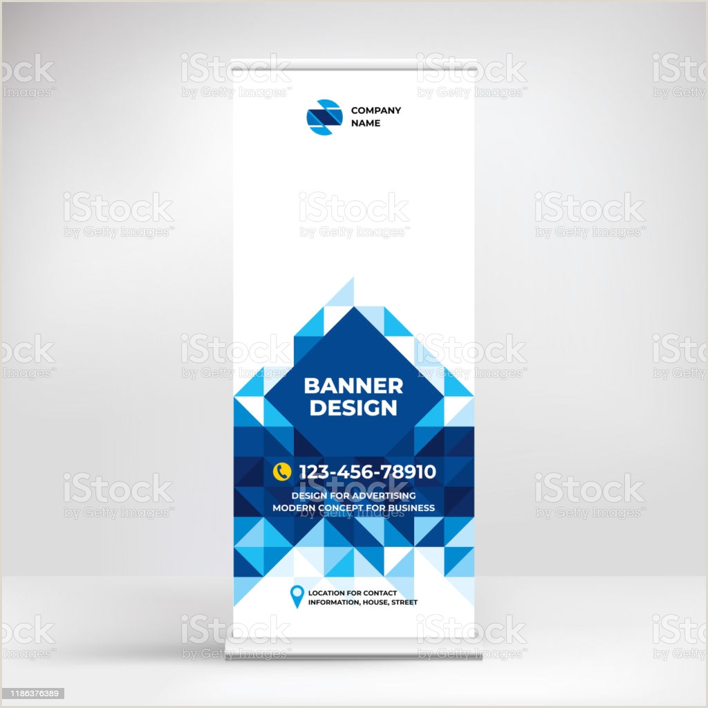 Conference Banner Stands Banner Design Rollup Stand For Advertising Conferences Seminars Poster Template For Placing S And Text Creative Geometric Background For