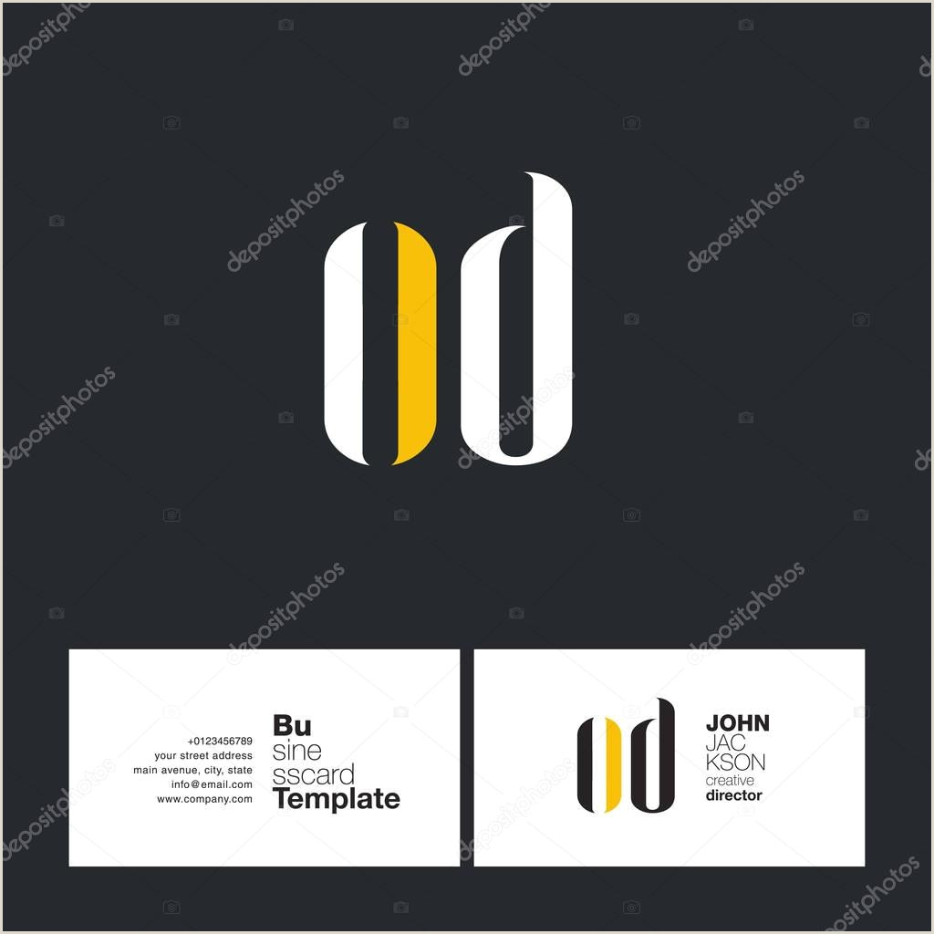 Cool Buisness Card Designs ✅ Od Joint Letters Logo With Business Card Template Vector