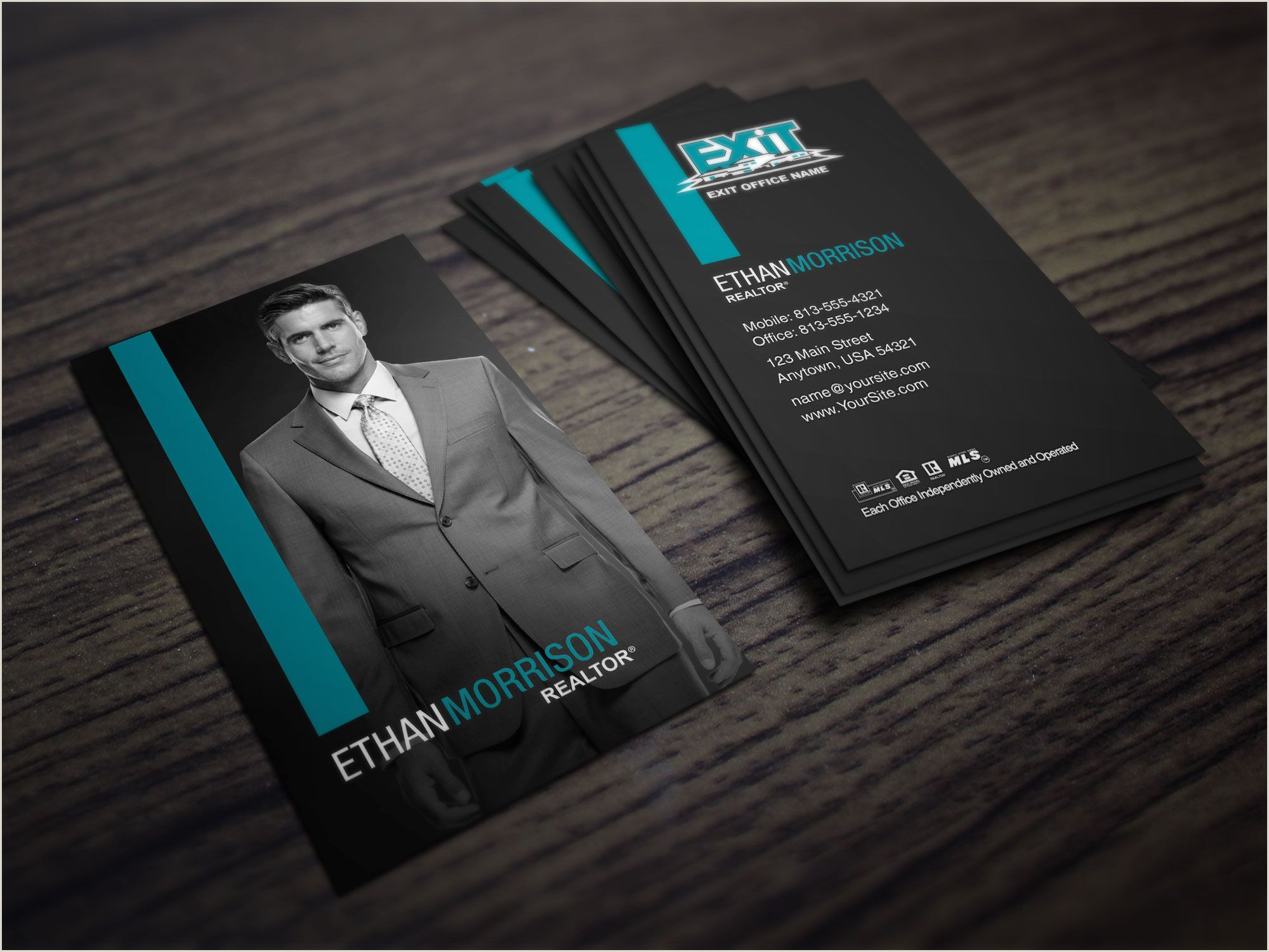 Cool Unique Business Cards For Realtors That Do Not Have To Much Stuff On It Clean Dark Exit Realty Business Card Design For Realtors