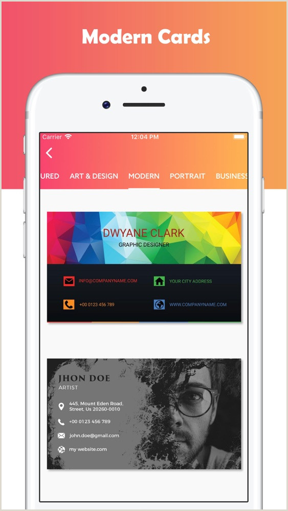 Create A Free Business Card Business Card Maker Designer App For IPhone Free
