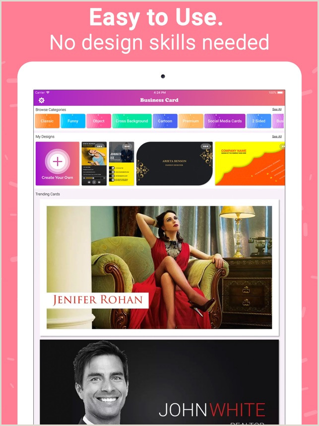 Create Unique Business Cards Online Business Card Maker Creator On The App Store