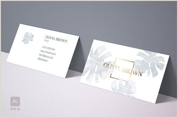 Create Your Own Business Card Template Feminine Business Card With Monstera
