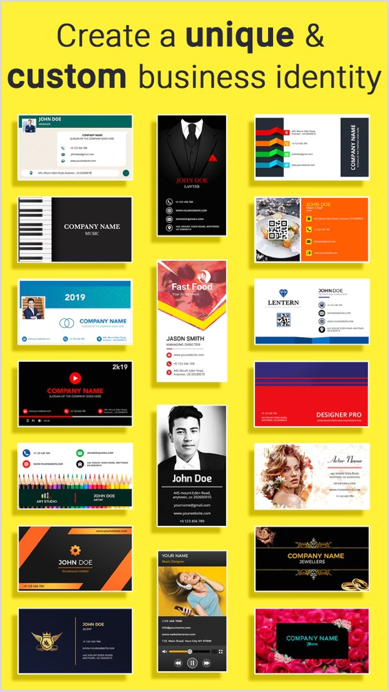 Creating A Business Card Business Card Maker Creator App For IPhone Free Download