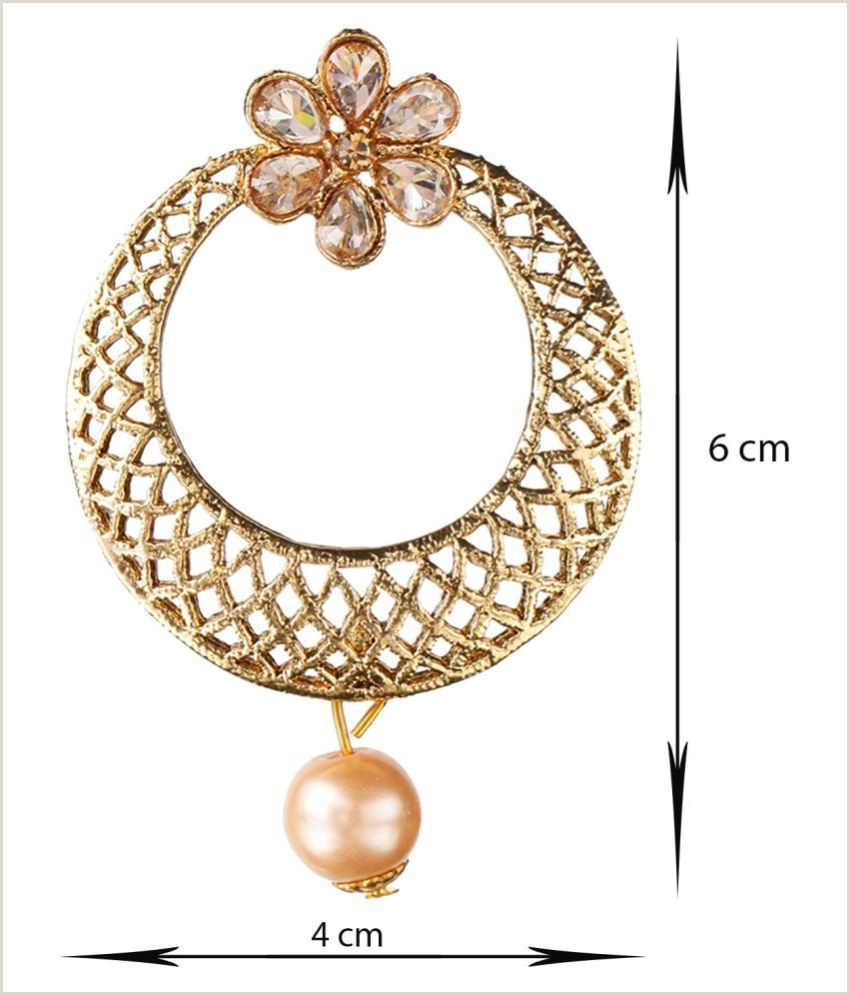 Creative Business Kord Store Creative Round Shape & Flower White Stone Gold Plated Chand Bali Earring For Women
