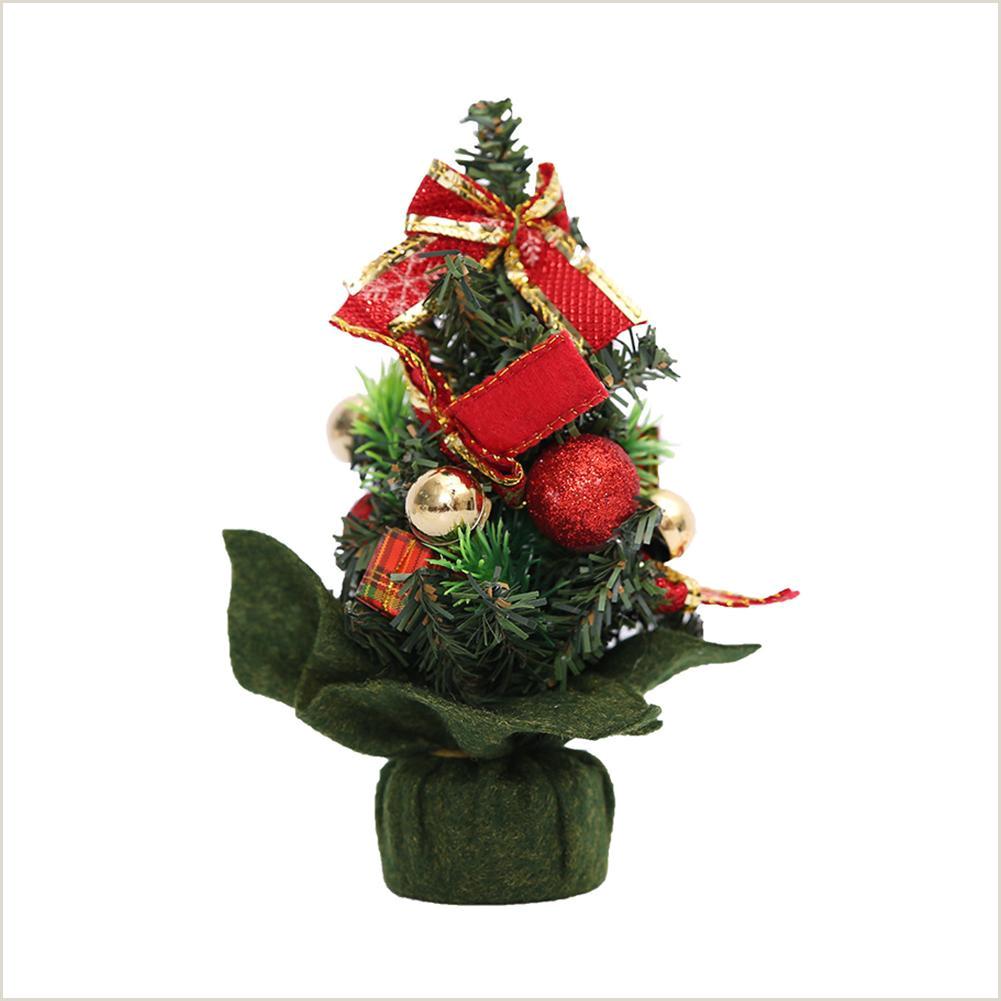 Creative Business Miniature Christmas Tree Desktop Simulation Mini Christmas Tree With Bowknot Creative Decoration Bow Family Christmas Ornaments Festive Decorations