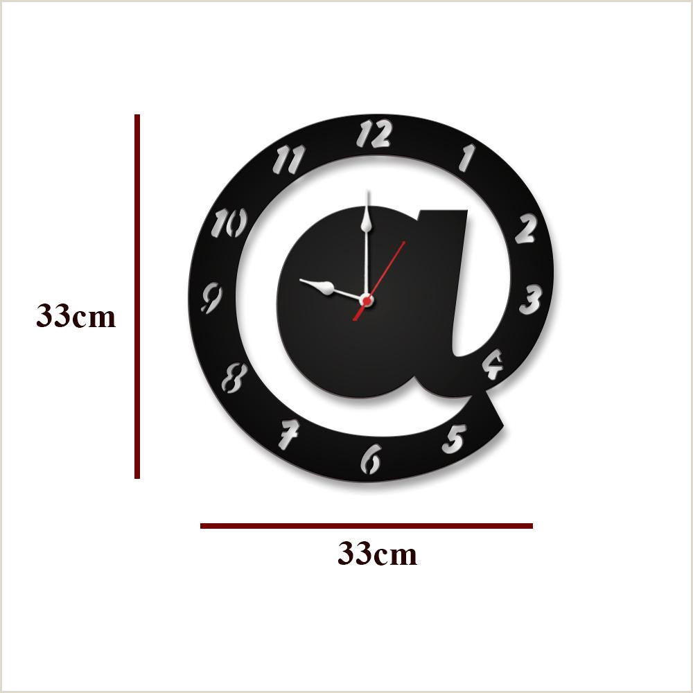 Credit Card Logos Black And White Arroba Logo In Black Color Wooden Wall Clock