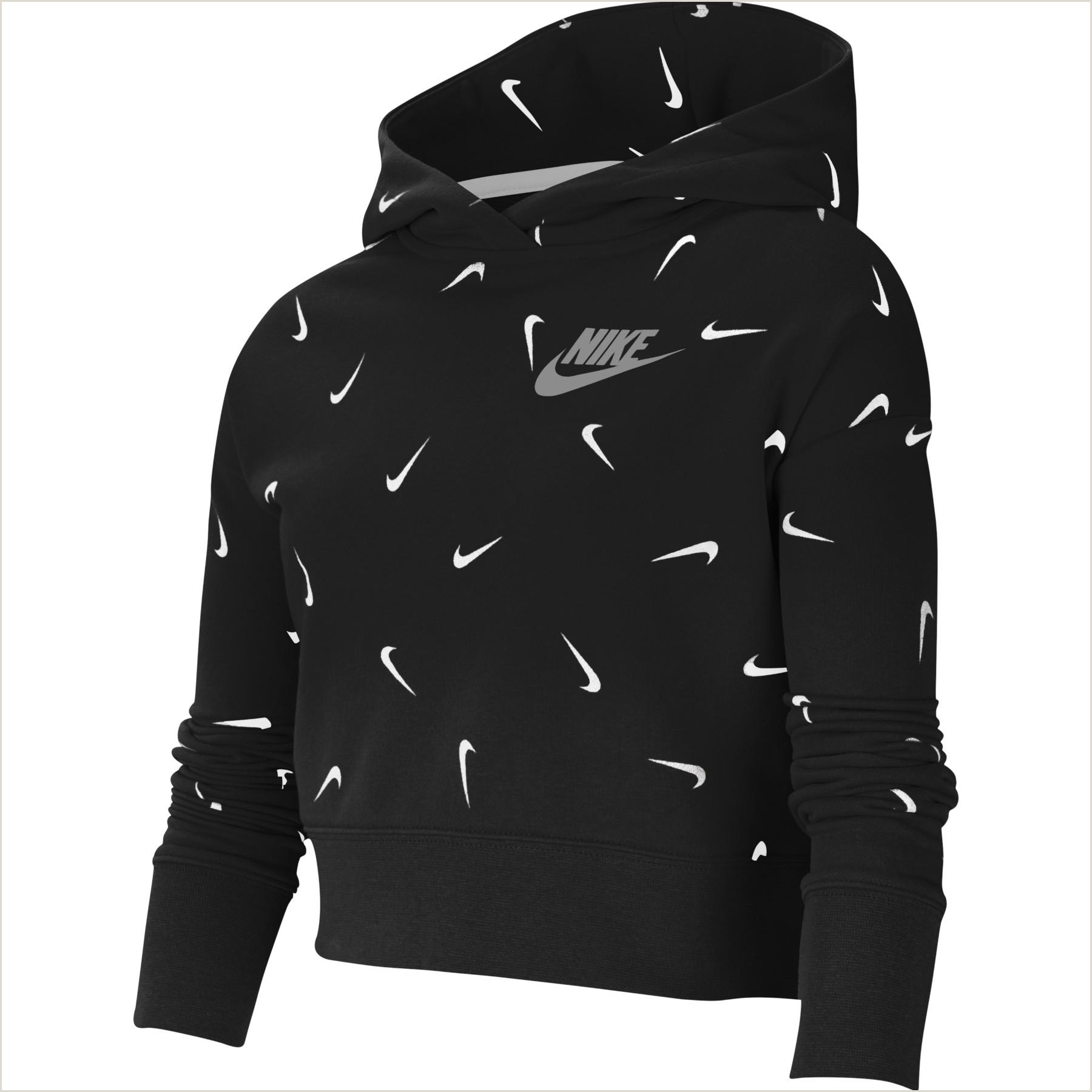 Credit Card Logos Black And White Nike Sportswear Girls Printed Cropped Hoo Black White Light Smoke Grey Cz2566 010