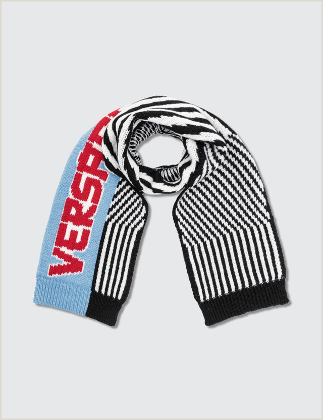Credit Card Logos Black And White Striped Logo Knitted Scarf