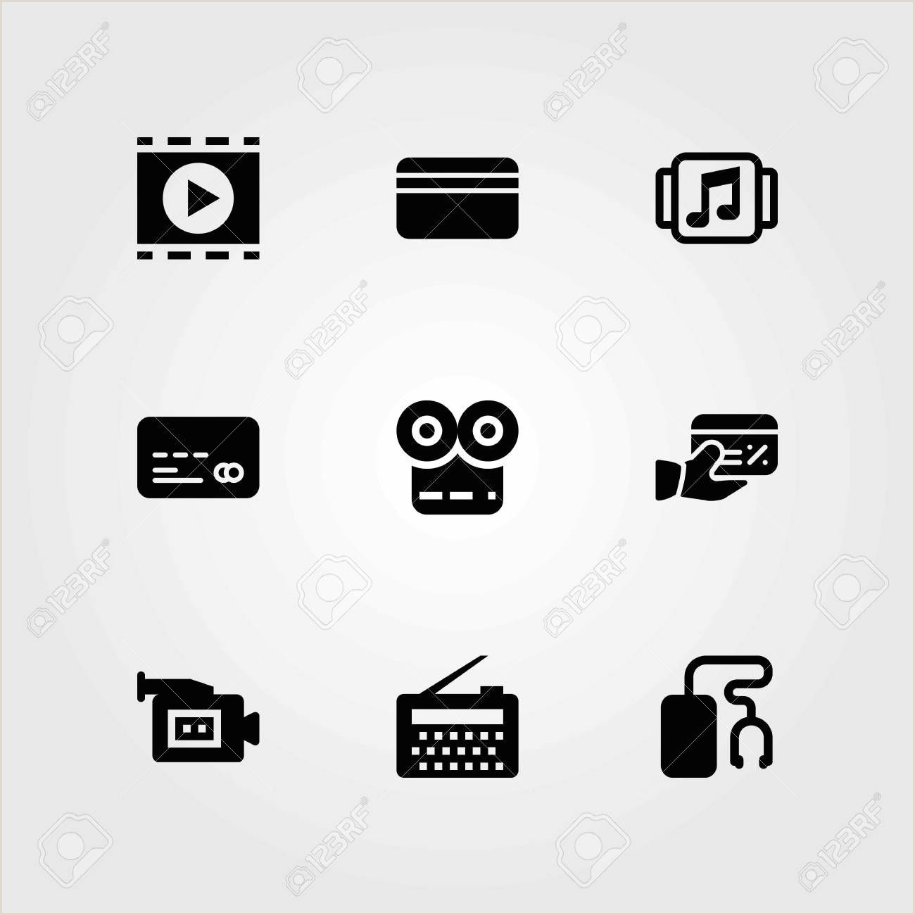 Credit Card Logos Black And White Technology Vector Icons Set Credit Card Video Camera And