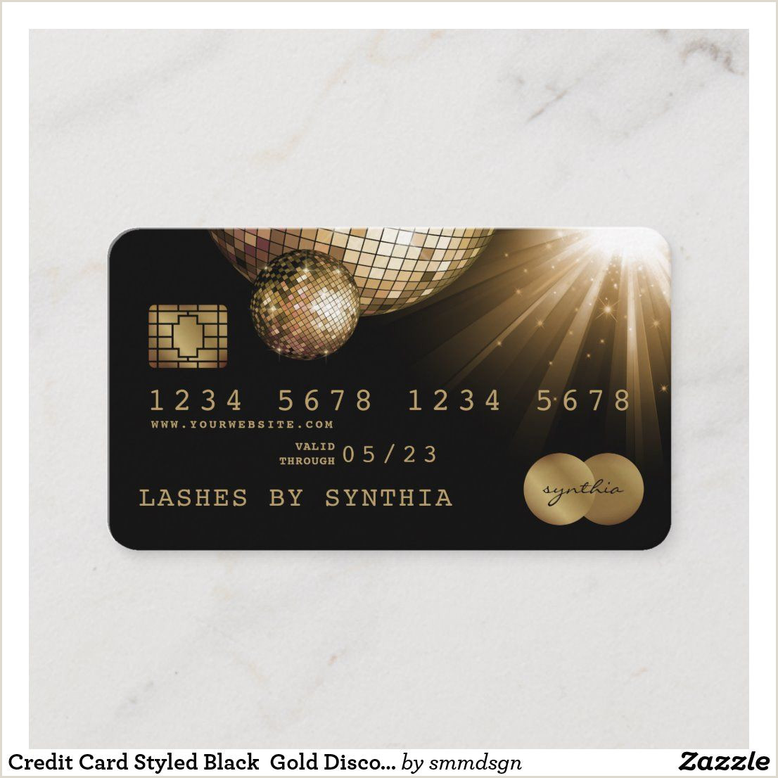 Credit Card Looking Business Cards Credit Card Styled Black Gold Disco Ball
