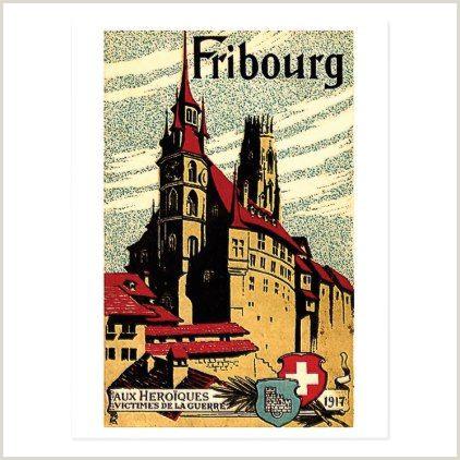 Customized Playing Cards No Minimum Fribourg City Switzerland Vintage Travel Postcard Postcard