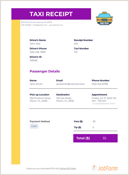 Design Your Own Business Card Taxi Receipt Template Pdf Templates