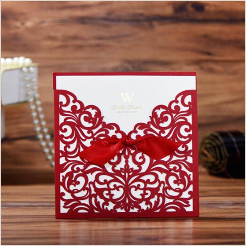 Die Cut Business Cards Templates Elegant Lace Favor Print Envelopes Wedding Party Decoration Gold Red White Laser Cut Flora Wedding Invitations Card Greeting Card Template Greeting