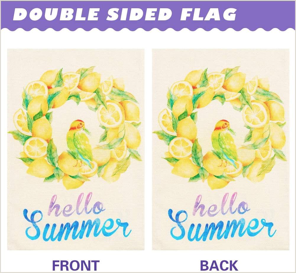 Double Sided Banner Stand Summer Garden Flag Double Sided Lemon Wreath Wel E Yard Flags Burlap House Outdoor Decor 12 5 X 18 Inch