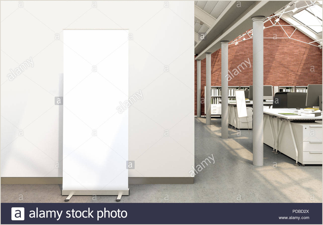 Double Sided Pop Up Banner Blank Roll Up Banner Stand In Loft Office With Clipping Path