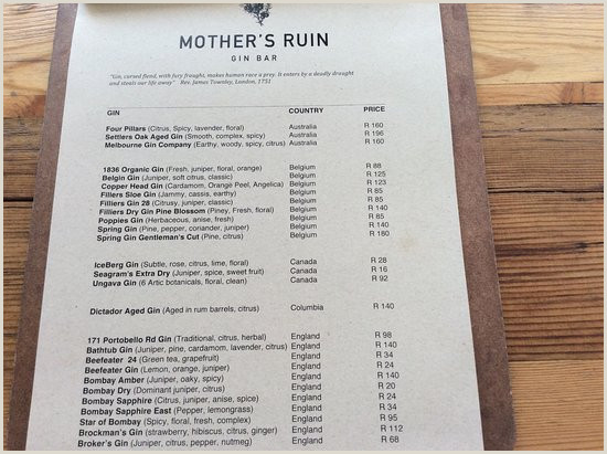 Earthy Business Names Menu Contd Picture Of Mother S Ruin Gin Bar Cape Town