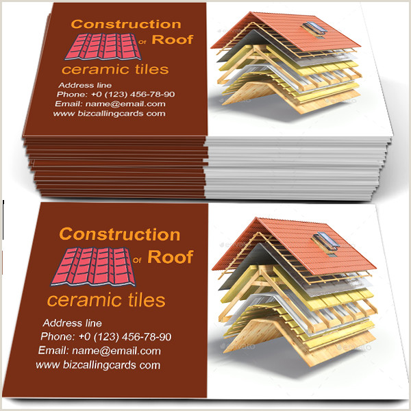Easy Business Cards Online Create Line Construction Of Roof Business Card Template In