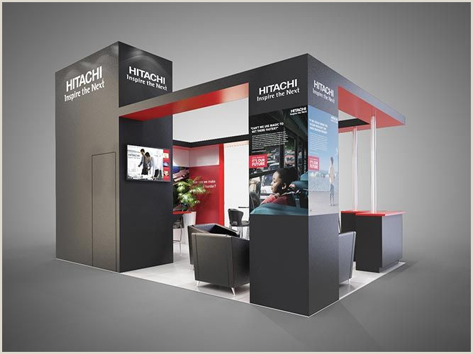Exhibition Banner Stands Colour Render For Hitachi Exhibition Stand