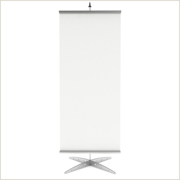 Floor Banner Stand Blank Roll Up Banner Stand Trade Show Booth White And Blank Mock Up