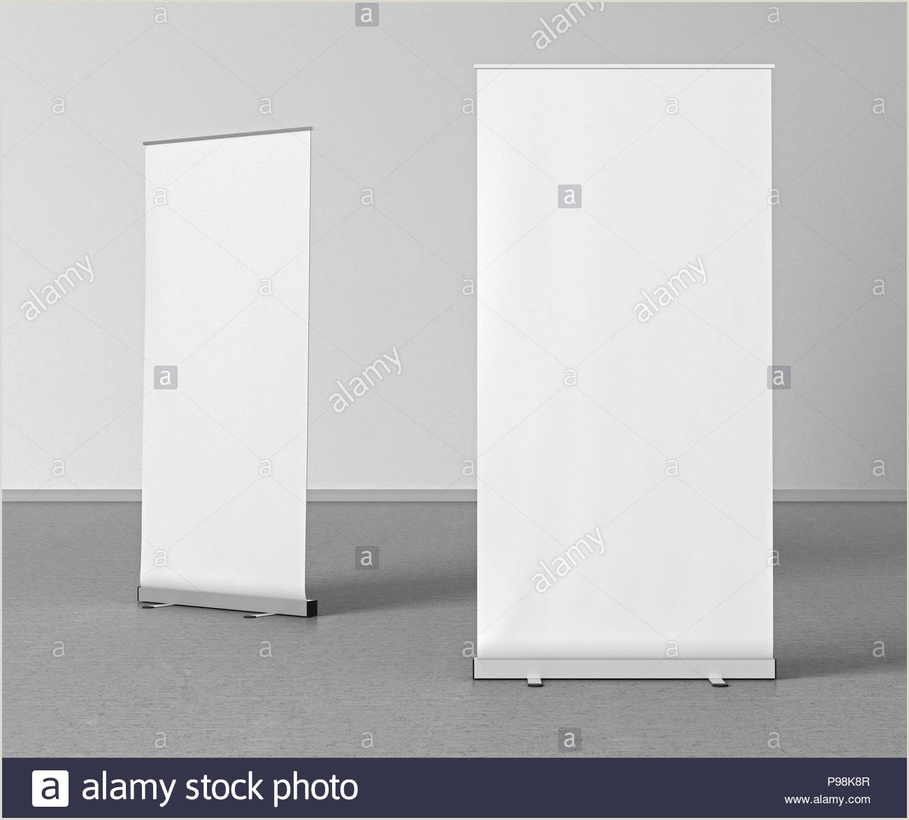 Floor Banner Stand Blank White Roll Up Banner Stands On Gray Floor Include