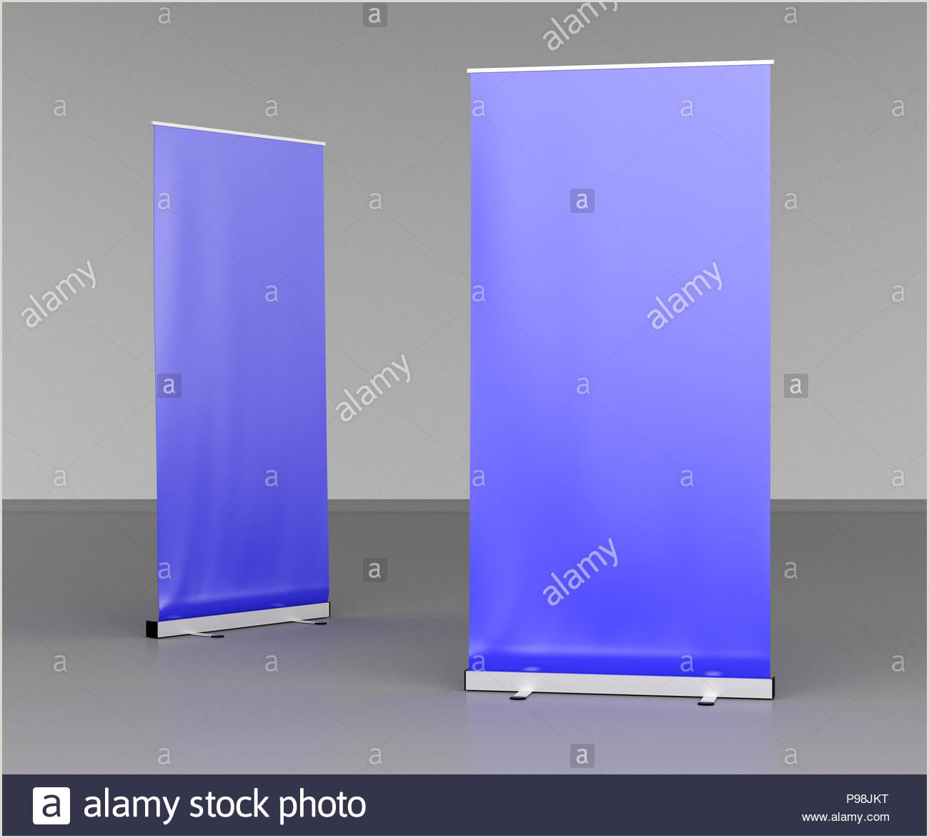 Floor Banner Stands Blank Blue Roll Up Banner Stands On Gray Floor Include