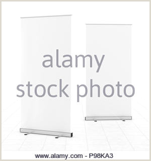 Floor Banner Stands Blank White Roll Up Banner Stands On Gray Floor Include