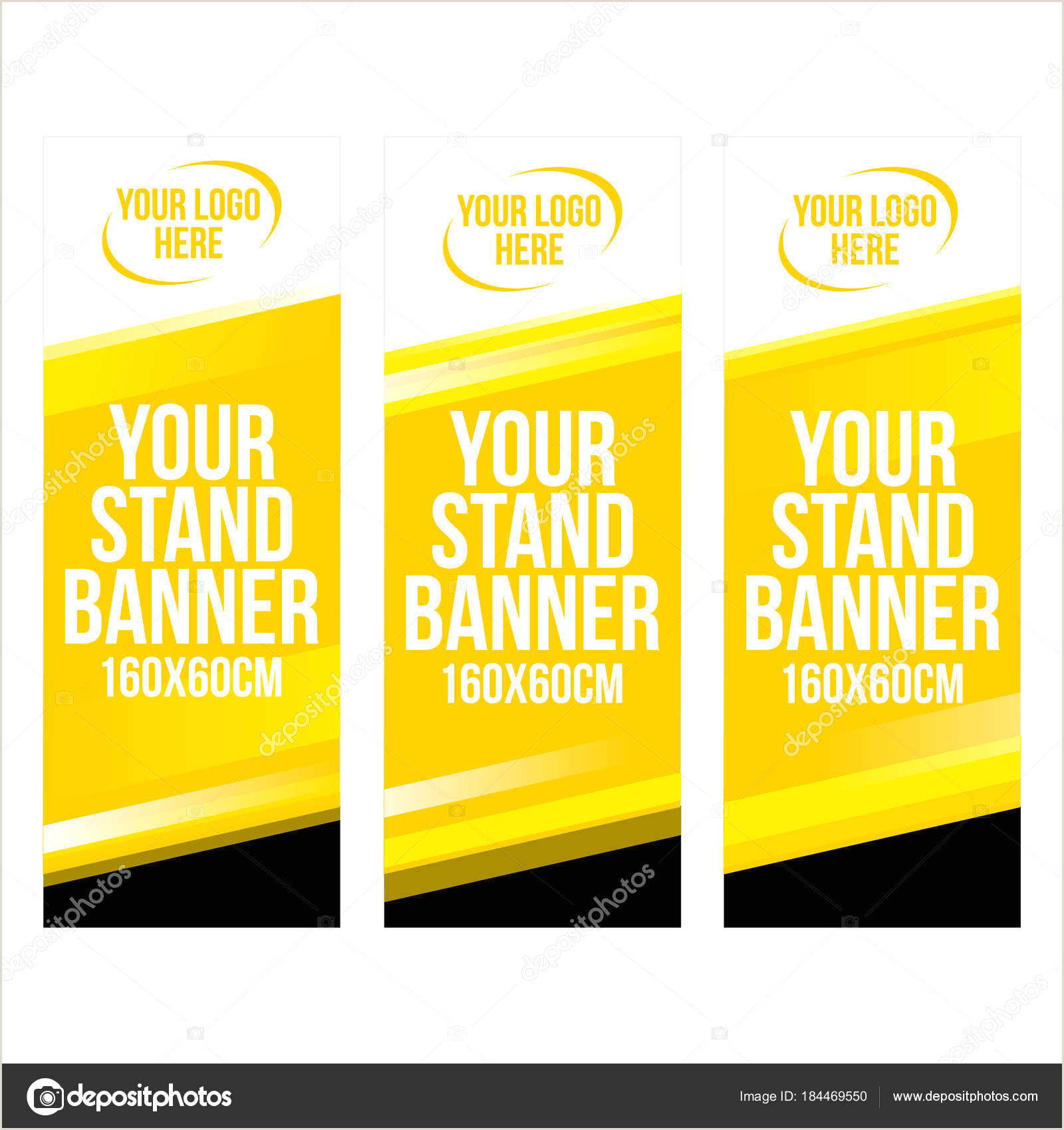 Floor Banner Stands Set Of Modern Roll Up Banner Stand Design Template With Yellow Gra Nt Shapes