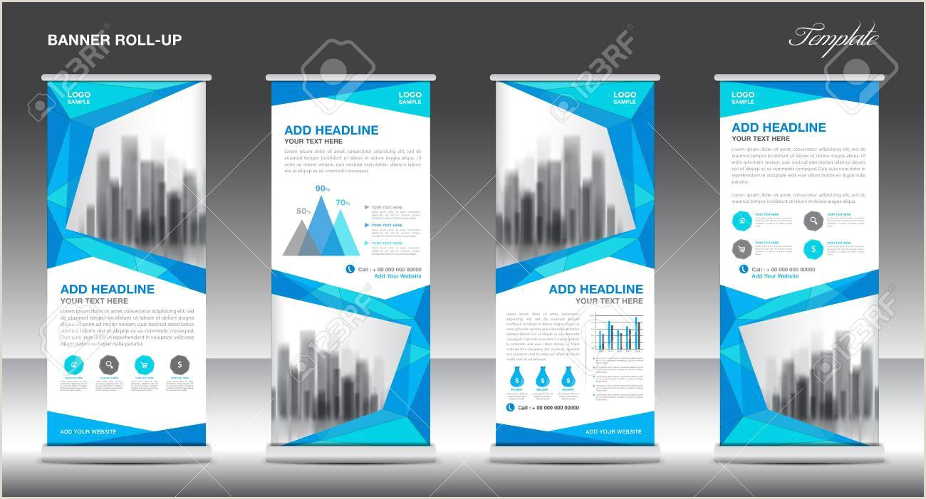 Floor Banners Retractable Roll Up Banner Stand Template Design Blue Banner Layout Advertisement