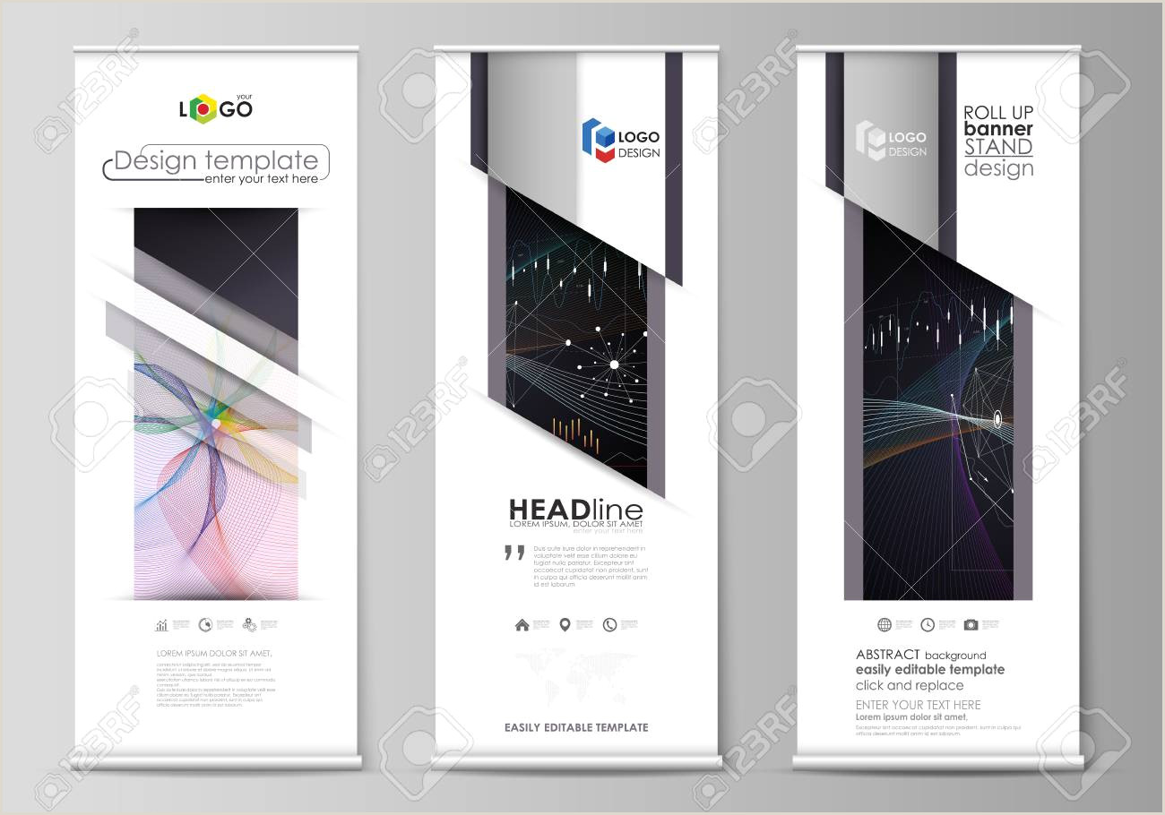 Floor Banners Retractable Set Of Roll Up Banner Stands Flat Design Templates Abstract