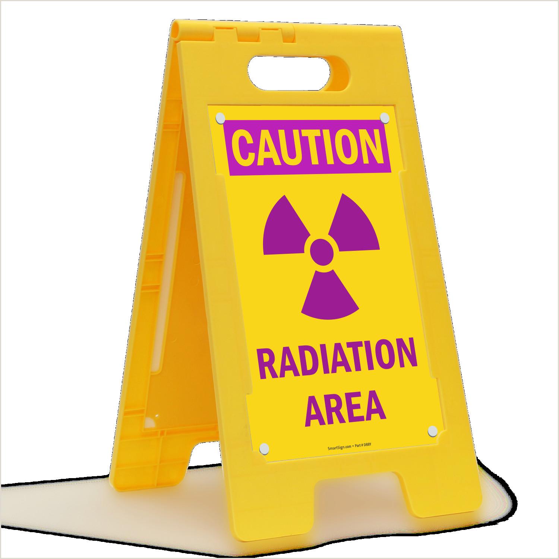 Floor Signs Stands Floorboss Xl™ Standing Floor Sign Caution Radiation Area With Graphic
