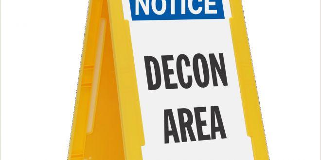 Floor Signs Stands Notice Decon area Standing Floor Sign