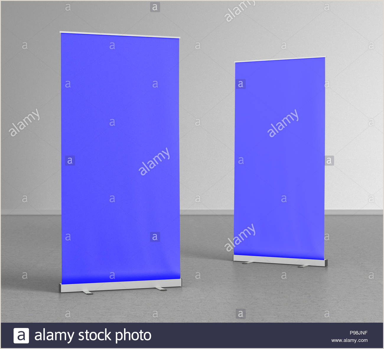 Floor Standing Banners Blank Blue Roll Up Banner Stands On Gray Floor Include