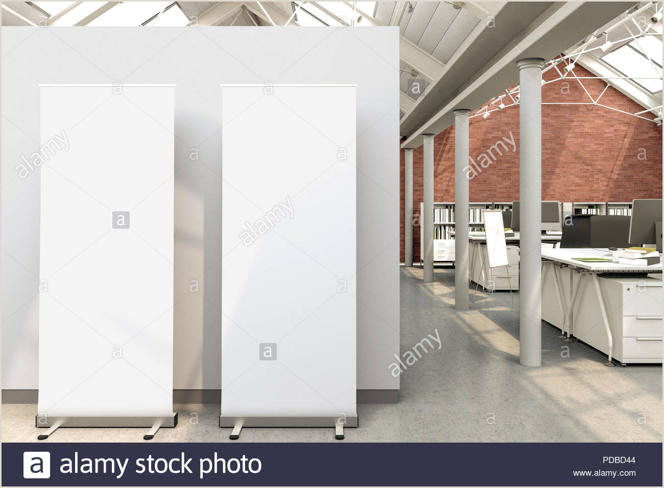Floor Standing Banners Blank Roll Up Banner Stands In Loft Office With Clipping
