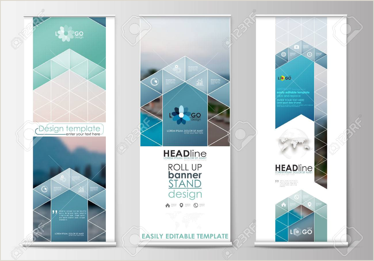 Floor Standing Banners Set Of Roll Up Banner Stands Flat Design Templates Abstract