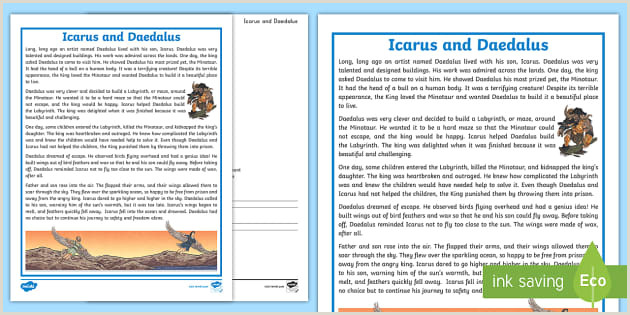 Free Paper Samples For Graphic Designers Fourth Grade Daedalus And Icarus Reading Prehension Activity