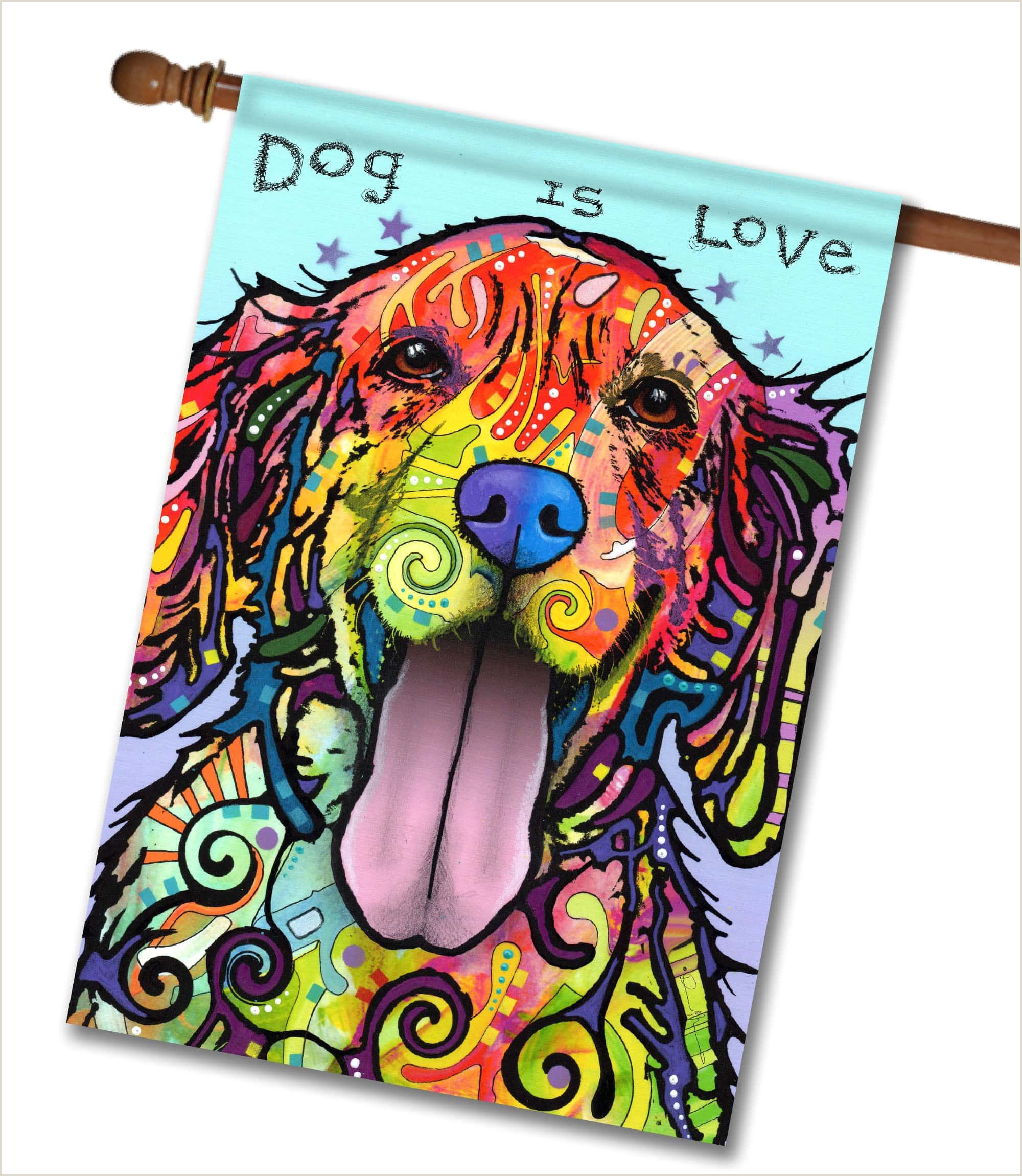 Full Size Flag Stands Dog Is Love House Flag 28 X 40 Custom Printed
