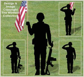 Full Size Flag Stands New Items Military Men Shadow Patterns