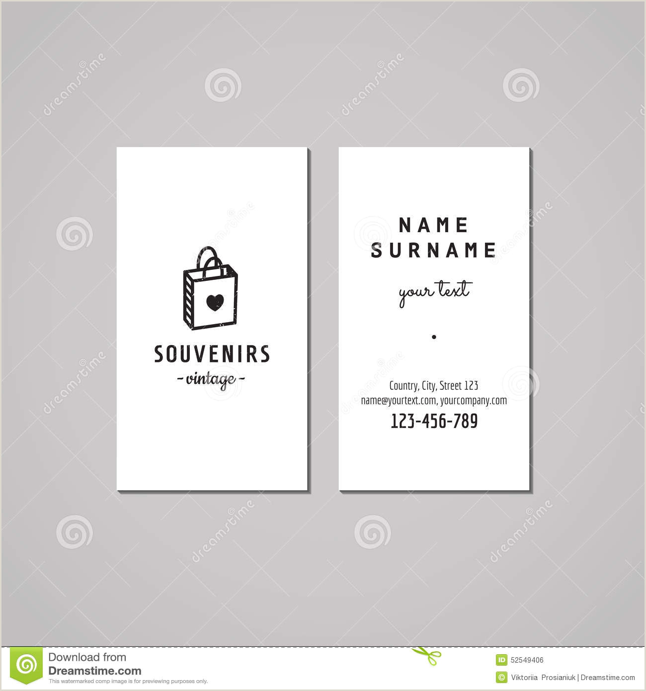 Hipster Business Cards Unique Size Gift Shop And Souvenirs Business Card Design Concept Gift