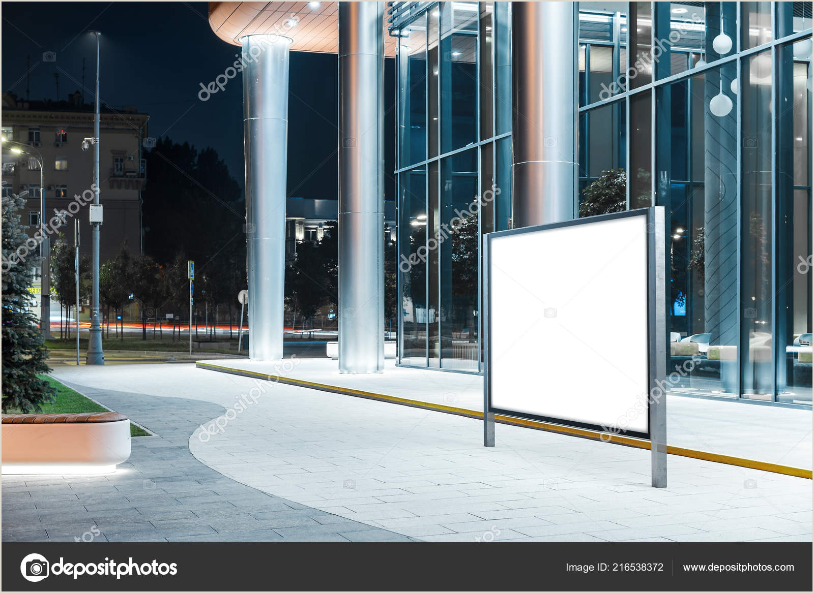 Horizontal Banner Stand Blank Horizontal Banner Stand Next To Modern Building At Night 3d Rendering