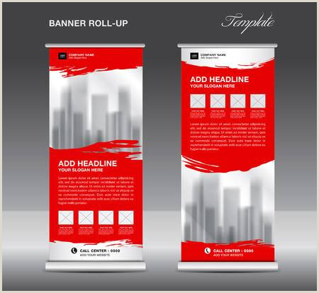 Horizontal Banner Stand Collection Blue Roll Up Banner Design Stand Template Flyers