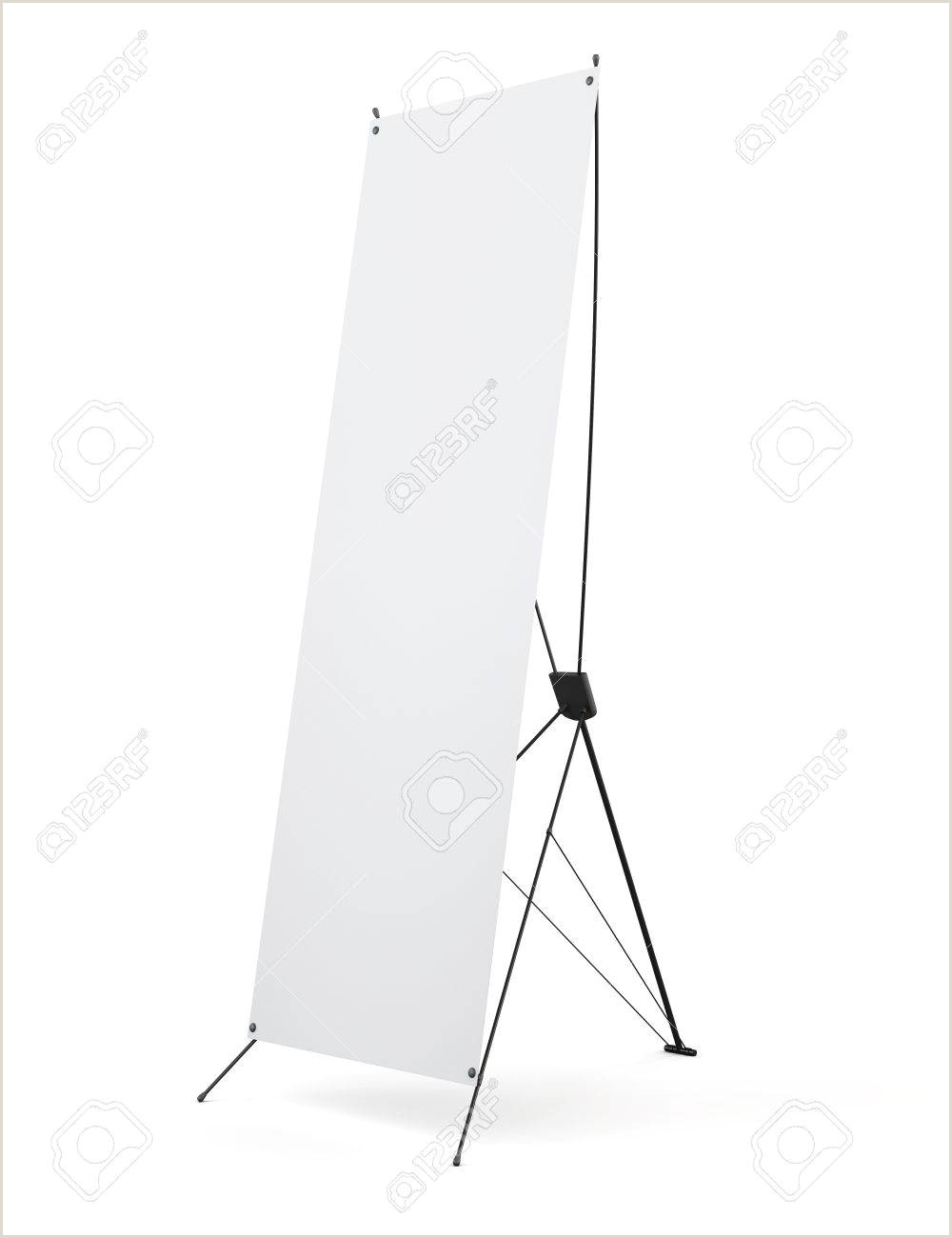 Horizontal Banner Stand Side Banner X Stands Display Isolated On White Background 3d