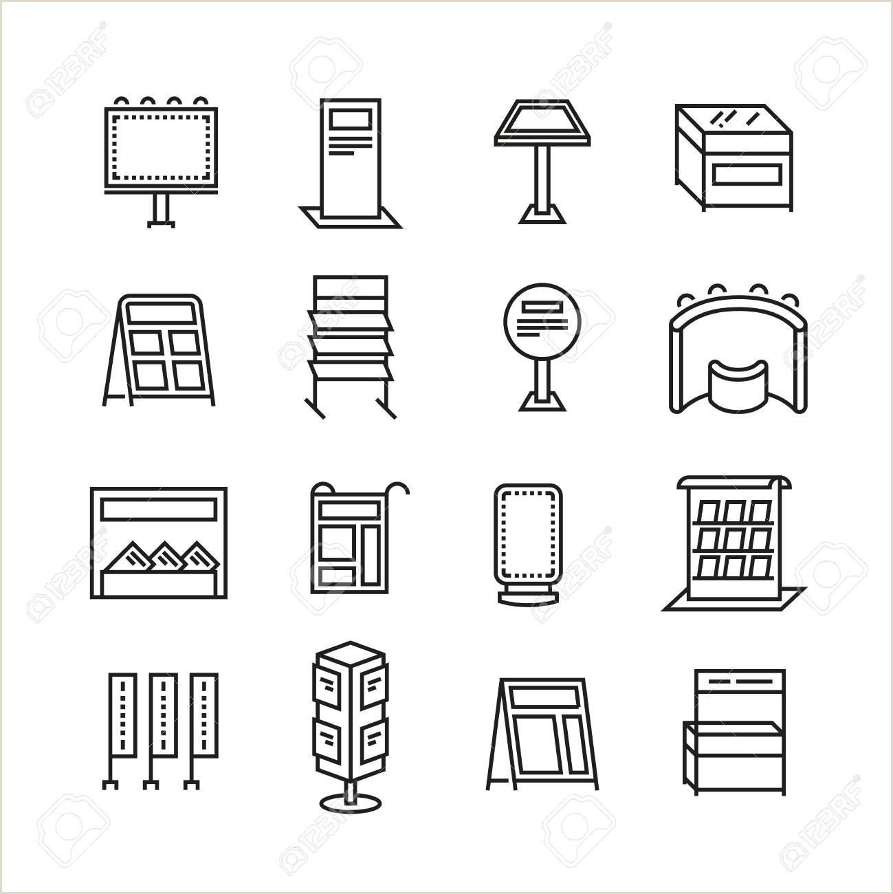 Horizontal Banner Stands For Trade Shows Exhibition Banner Stands Promo Display Line Vector Icons Set