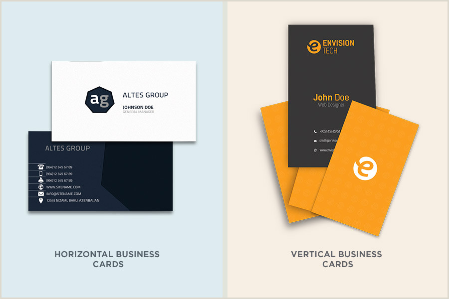 Horizontal Vs Vertical Business Cards Types Of Business Cards Design Brief Guidance